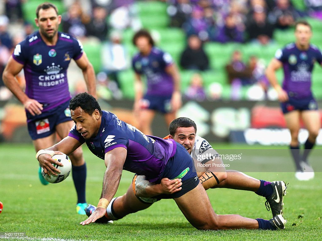 Felise Kaufusi of the Storm crosses the line to score a try during the round 16 NRL match between the Melbourne Storm and Wests Tigers at AAMI Park on June 26, 2016 in Melbourne, Australia.