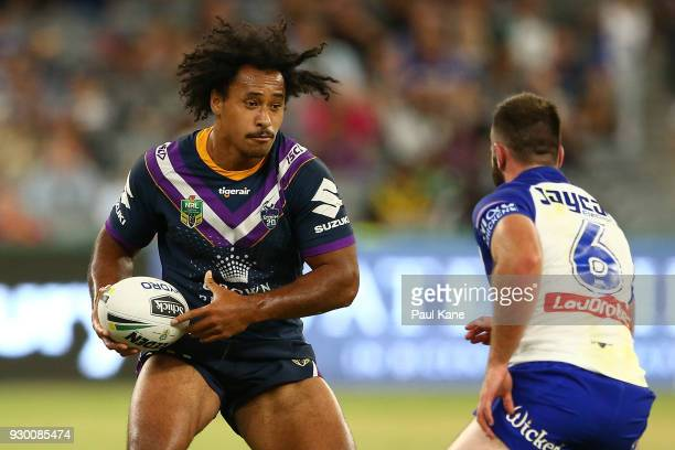 Felise Kaufusi of the Storm runs the ball during the round one NRL match between the Canterbury Bulldogs and the Melbourne Storm at Optus Stadium on...