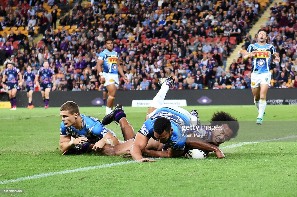Felise Kaufusi of the Storm scores a try during the round ten NRL match between the Melbourne Storm and the Gold Coast Titans at Suncorp Stadium on May 12, 2018 in Brisbane, Australia.