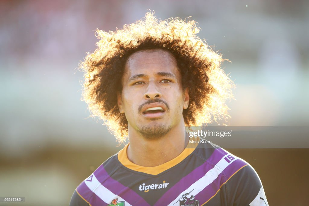 Felise Kaufusi of the Storm watches on during the round nine NRL match between the St George Illawarra Dragons and the Melbourne Storm at UOW Jubilee Oval on May 6, 2018 in Sydney, Australia.