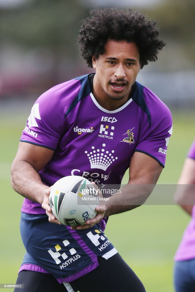Felise Kaufusi receives a pass during a Melbourne Storm NRL training session at AAMI Park on September 18, 2017 in Melbourne, Australia.