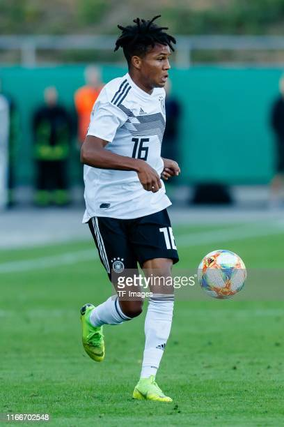 Felix Agu of Germany controls the ball during the U21 international friendly match between Germany and Greece at Stadion Zwickau on September 05,...