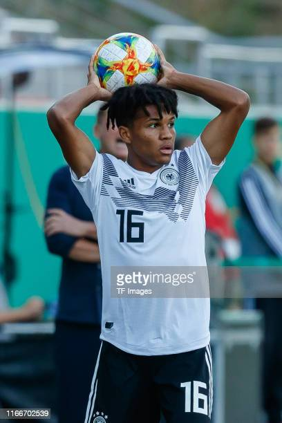Felix Agu of Germany throw-in during the U21 international friendly match between Germany and Greece at Stadion Zwickau on September 05, 2019 in...