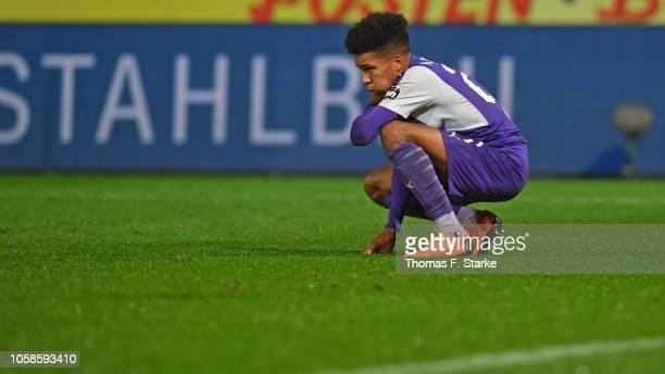 Felix Agu of Osnabrueck looks dejected during the 3. Liga match between VfL Osnabrueck and KFC Uerdingen 05 at Stadion an der Bremer Bruecke on...