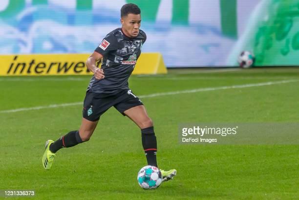 Felix Agu of SV Werder Bremen controls the Ball during the Bundesliga match between TSG Hoffenheim and SV Werder Bremen at PreZero-Arena on February...