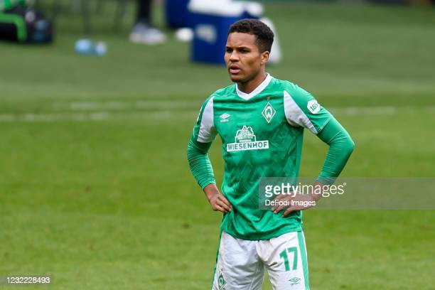Felix Agu of SV Werder Bremen looks on during the Bundesliga match between SV Werder Bremen and RB Leipzig at Wohninvest Weserstadion on April 10,...