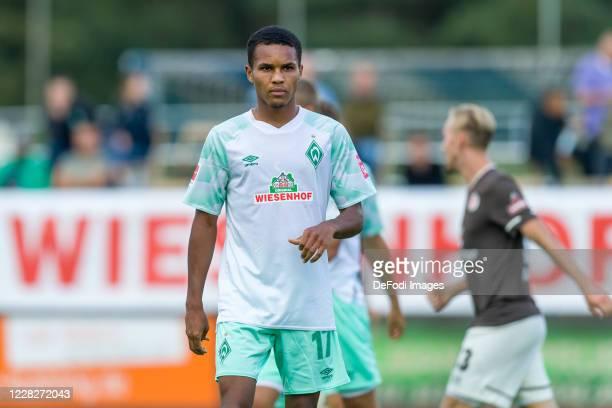 Felix Agu of SV Werder Bremen looks on during the pre-season friendly match between SV Werder Bremen and FC St. Pauli at Blau-Weiss Lohne...