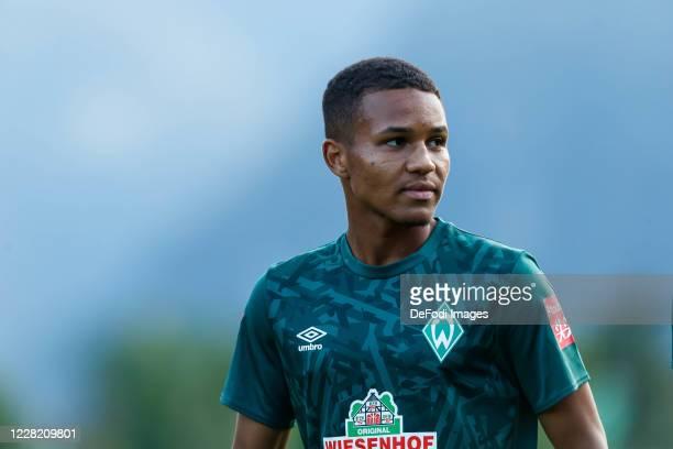 Felix Agu of SV Werder Bremen looks on during the pre-season test match between SV Werder Bremen and LASK on August 19, 2020 in Zell am Ziller,...