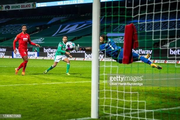 Felix Agu of SV Werder Bremen scores his team's second goal during the Bundesliga match between SV Werder Bremen and FC Augsburg at Wohninvest...