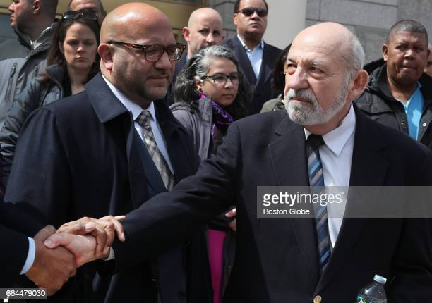 Felix Arroyo is greeted by supporters during a press conference outside the Edward Brooke Courthouse in Boston on Apr 3 2017 regarding his suspension...