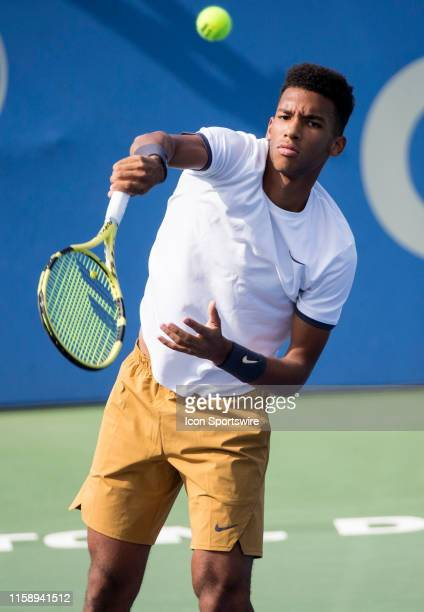 Felix Auger - Aliassime in action during a third round ATP mens singles match against Marin Cilic on August 1 at the Rock Creek Park Tennis Center,...