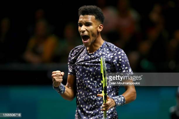 Felix Auger Aliassime of Canada celebrates a point against Jan-Lennard Struff of Germany during Day 4 of the ABN AMRO World Tennis Tournament at...