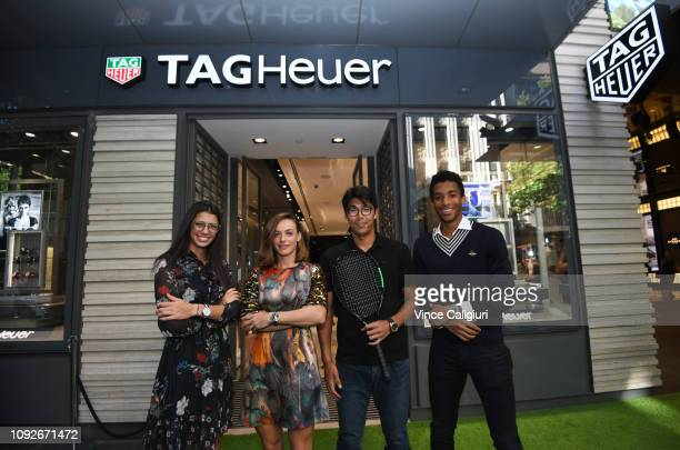 Félix Auger Aliassime of Canada Chung Hyeon of South Korea Ana Bogdan of Romania and Olga Danilovic of Serbia pose at the Unveiling of Tag Heuer's...