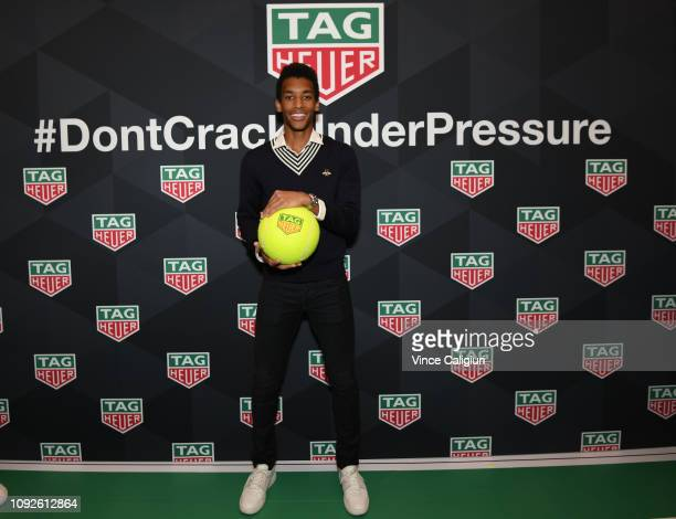 Félix Auger Aliassime of Canada poses at the Unveiling of Tag Heuer's Global Tennis Ambassadors at the Tag Heuer Boutique on January 11 2019 in...