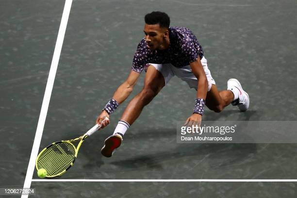 Felix Auger Aliassime of Canada returns a forehand against Aljaz Bedene of Slovenia during Day 7 of the ABN AMRO World Tennis Tournament at Rotterdam...