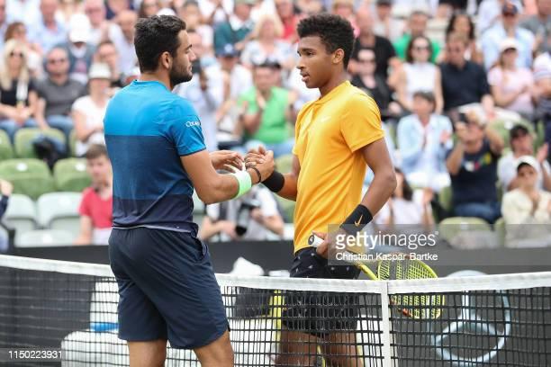 Felix AugerAliassime congratulates Matteo Berrettini for victory after the final match at Tennisclub Weissenhof on June 16 2019 in Stuttgart Germany