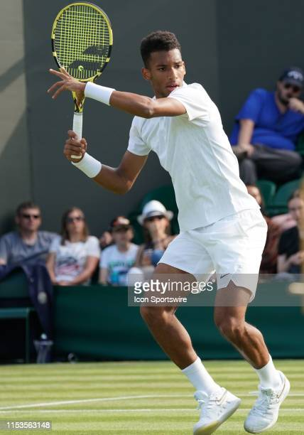 Felix AugerAliassime in action during his 2nd round victory at The Championships Wimbledon on July 03 at the All England Lawn Tennis and Croquet Club...