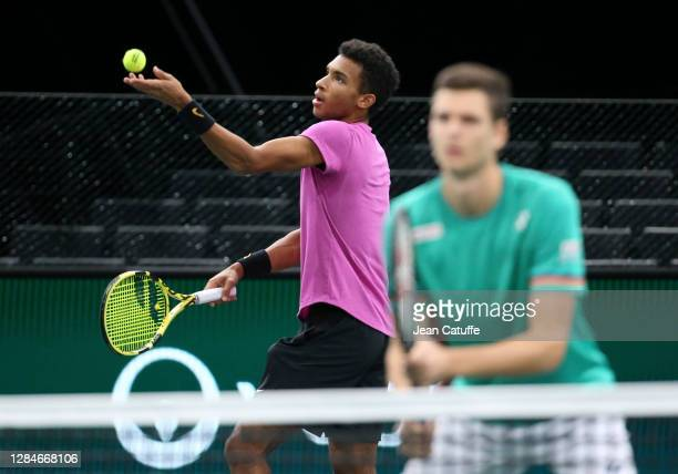 Felix Auger-Aliassime of Canada and Hubert Hurkacz of Poland during the men's doubles final on day 7 of the Rolex Paris Masters, an ATP Masters 1000...