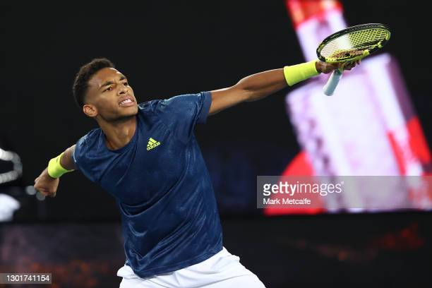Felix Auger-Aliassime of Canada celebrates after winning his Men's Singles third round match against Denis Shapovalov of Canada during day five of...