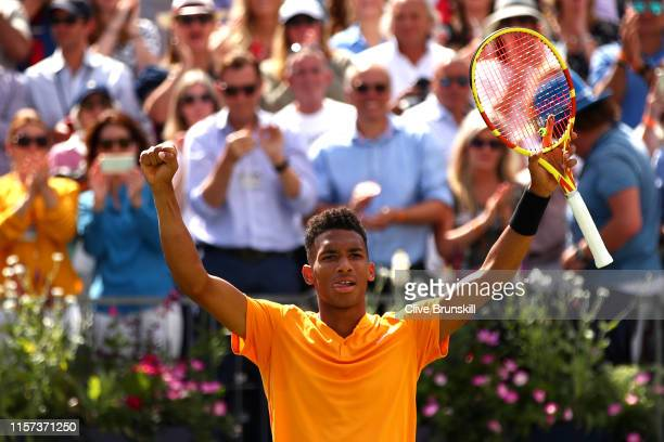 Felix AugerAliassime of Canada celebrates victory during his QuarterFinal Singles Match against Stefanos Tsitsipas of Greece during day Five of the...