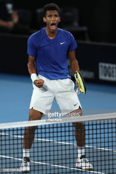 Felix Auger-Aliassime of Canada celebrates winning the second set during the semi final match against Andrey Rublev of Russia during day six of the...