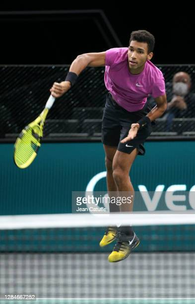 Felix Auger-Aliassime of Canada during the men's doubles final on day 7 of the Rolex Paris Masters, an ATP Masters 1000 tournament held behind closed...