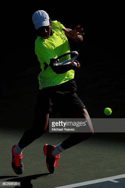 Felix AugerAliassime of Canada in action against Miomir Kecmanovic of Serbia in their Junior Boys' Singles Final Match on Day Fourteen of the 2016 US...
