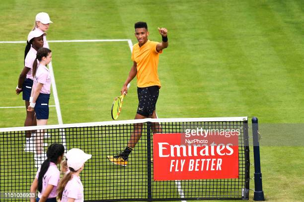 Felix AugerAliassime of Canada is is pictured in action during day four of ATP FeverTree Championships tennis tournament at Queen's Club in west...