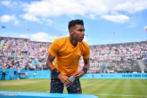Felix AugerAliassime of Canada is pictured during the semifinal of ATP FeverTree Championships tennis tournament at Queen's Club in west London on...