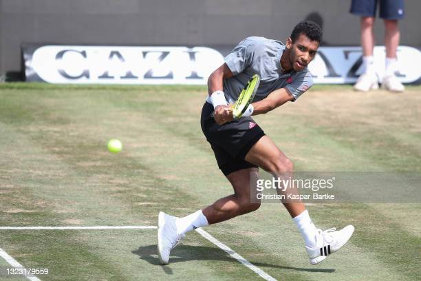 Felix Auger-Aliassime of Canada plays a backhand during his half-final match against Sam Querrey of United States of America during day 6 of the...