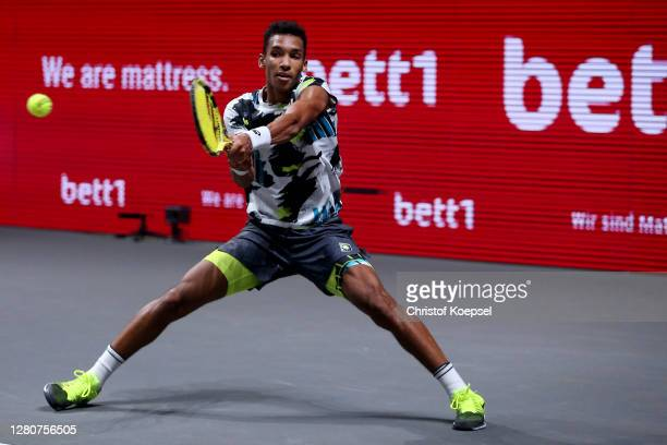 Felix Auger-Aliassime of Canada plays a backhand during the semi match between Felix Auger-Aliassime of Canada and Roberto Bautista Agut of Spain of...