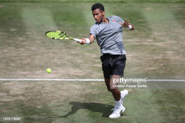 Felix Auger-Aliassime of Canada plays a forehand during his half-final match against Sam Querrey of United States of America during day 6 of the...