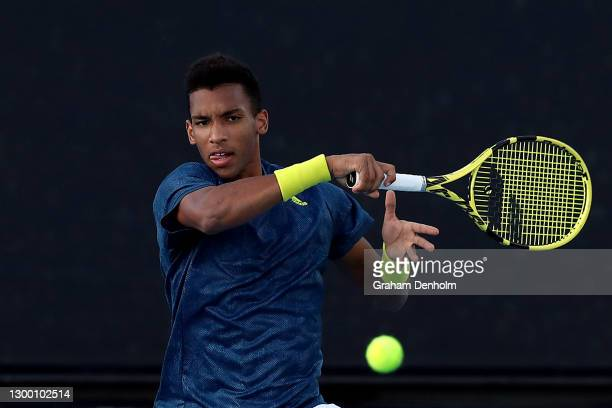 Felix Auger-Aliassime of Canada plays a forehand in his match against Yuichi Sugita of Japan during day three of the ATP 250 Murray River Open at...