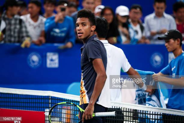 Felix AugerAliassime of Canada reacts after winning over Chung Hyeon of Korea during 2018 ATP World Tour Chengdu Open at Sichuan International Tennis...