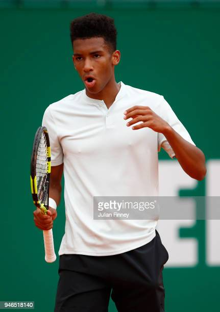 Felix AugerAliassime of Canada reacts shot during the Round of 64 match between Mischa Zverev and Felix AugerAliassime during Day One of ATP Masters...