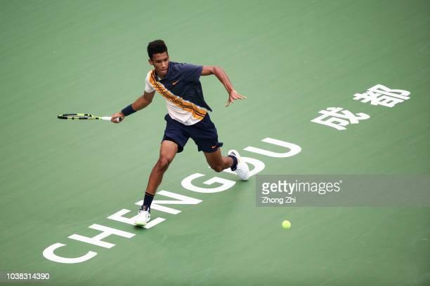 Felix AugerAliassime of Canada returns a shot against Ruben Bemelmans of Belgium during 2018 ATP Chengdu Open Singles Qualifying at Sichuan...