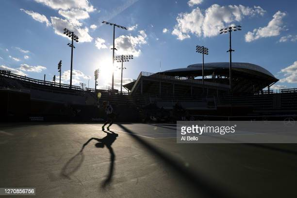 Felix Auger-Aliassime of Canada serves during his Men's Singles third round match against Corentin Moutet of France on Day Six of the 2020 US Open at...