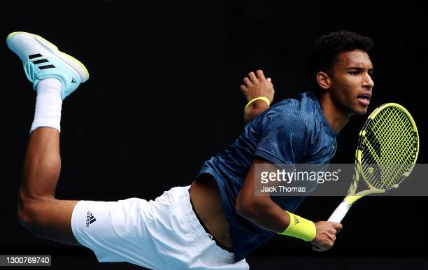 Felix Auger-Aliassime of Canada serves in his Men's SinglesFinal match against Daniel Evans of Great Britain during day seven of the ATP 250 Murray...