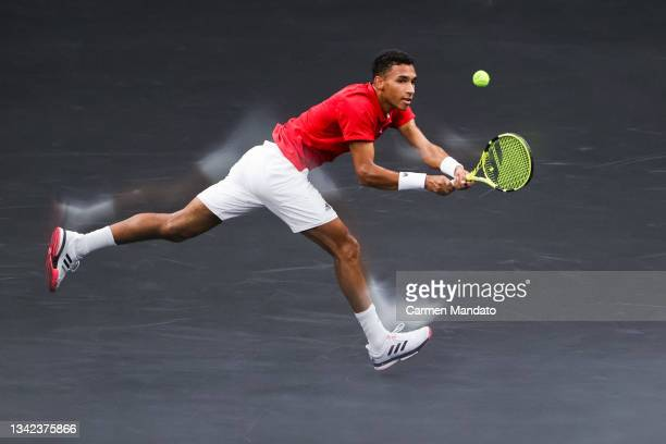Felix Auger-Aliassime of Team World plays a shot against Matteo Berrettini of Team Europe during the second match during Day 1 of the 2021 Laver Cup...