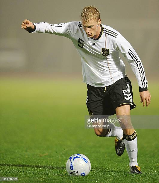 Felix Bastians of Germany in action during the UEFA Under 21 Championship match between San Marino and Germany at Olimpico stadium on November 17,...