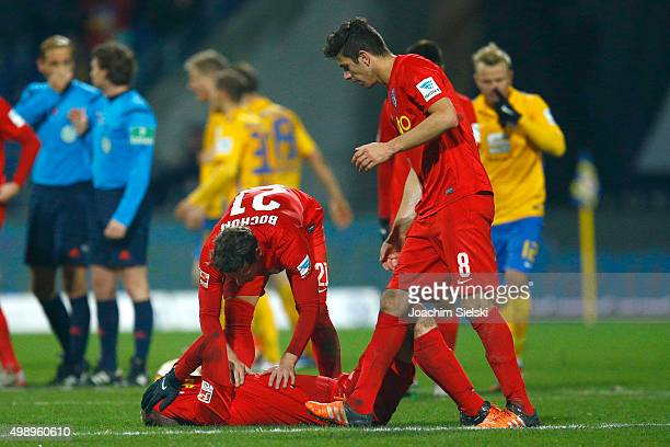 Felix Bastians Stefano Celozzi and Anthony Losilla of Bochum after the Second Bundesliga match between Eintracht Braunschweig and VfL Bochum at...