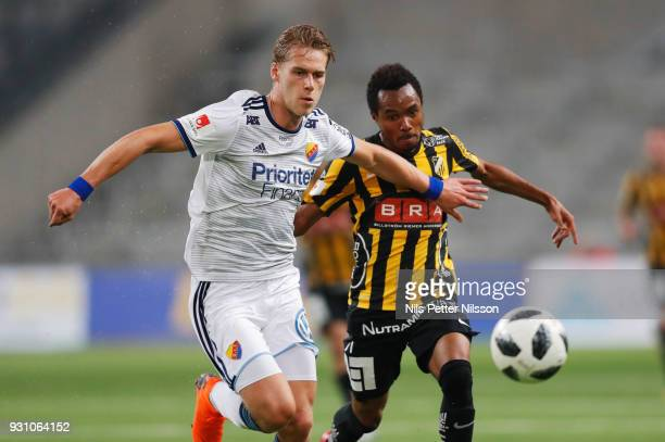 Felix Beijmo of Djurgardens IF and Nasiru Mohammed of BK Hacken competes for the ball during the Swedish Cup Quarterfinal between Djurgardens IF and...