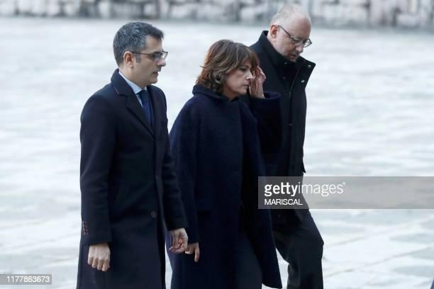 Felix Bolanos general secretary of the prime minister's office caretaker justice minister Dolores Delgado and Antonio Hidalgo Lopez arrive to attend...