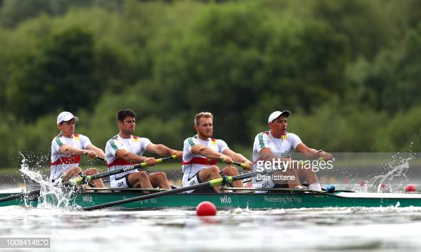 Felix Brummel of Germany Merget Nico of Germany Peter Kluge of Germany and Felix Drahotta of Germany compete during Heat 1 of the Men's Four race...