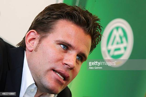 Felix Brych talks during a press conference of the German FIFA 2014 World Cup referees at DFB headquarters on May 19 2014 in Frankfurt am Main Germany