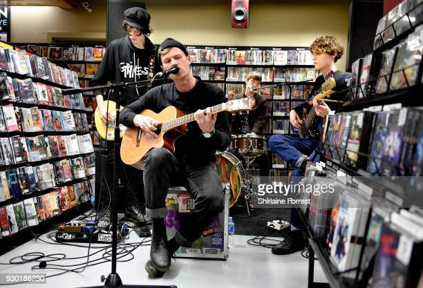 Felix Bushe John Victor Hugh Schulte and Danny Ward of Gengahr during an instore signing and performance at Fopp on March 10 2018 in Manchester...