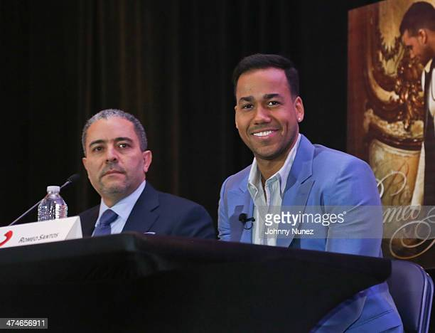 Felix Cabrera and Romeo Santos attend Romeo Santos' 'Formula Vol 2' Album Release Press Conference at Yankee Stadium on February 24 2014 in New York...