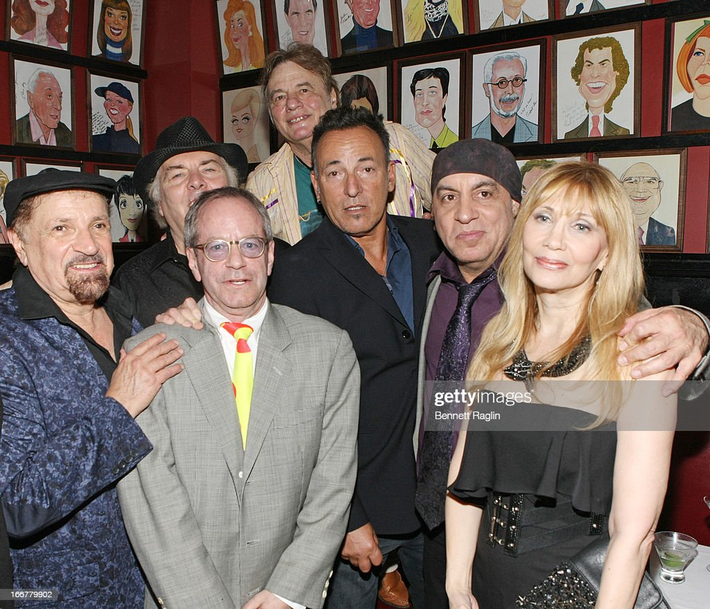 Felix Cavaliere, Marc Brickman, Bruce Springsteen, Stephen Van Zandt, and Maureen Van Zandt attend the after party for 'The Rascals: Once Upon A Dream' Broadway Opening Night at Sardi's on April 16, 2013 in New York City.