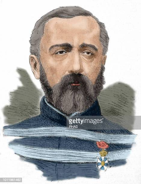 Felix Charles Douay . General in the French army. Portrait. Engraving. 'La Ilustracion Espanola y Americana', 1870. Colored.