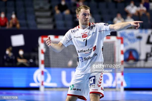 Felix Claar of Aalborg Handbold issues instructions during the VELUX EHF Champions League FINAL4 semi-final between Aalborg Handbold v Paris...